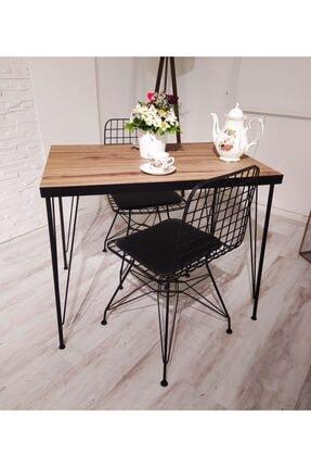 AVVİO Royal Yemek Masa Takımı Mutfak Masası Cafe Masası 2 Tel Sandalye 1 Masa - Ceviz