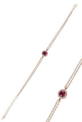 Söğütlü Silver Gümüş Rose Kök Yakut Taşlı Elmas Montürlü Bileklik