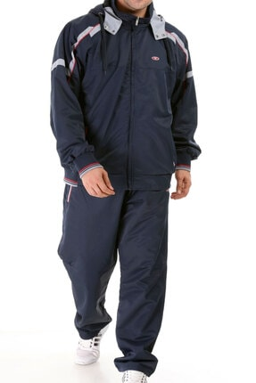 Enrico Ferry Lacivert Erkek Yarım Balıkçı Yaka Kapşonlu Marathon Büyük Beden Eşofman Takım 2391l