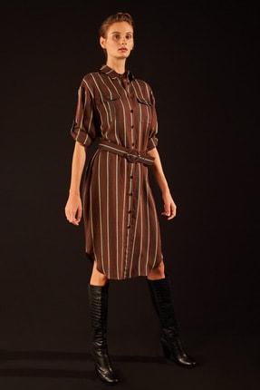 Love My Body Kadın Kahve Cepli Çizgili Gömlek Elbise