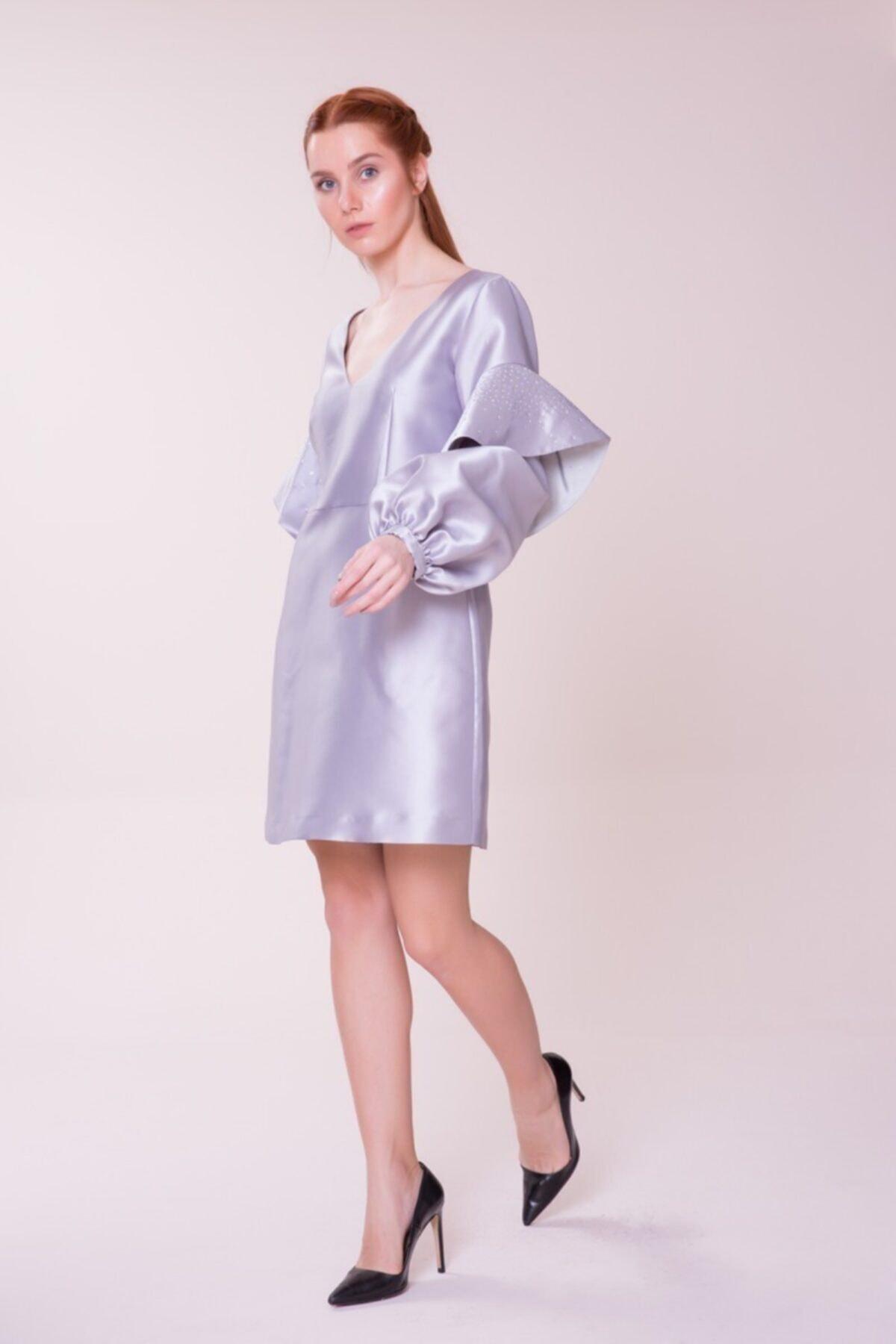 GIZIA CASUAL Kol Detaylı Gri Mini Elbise 2