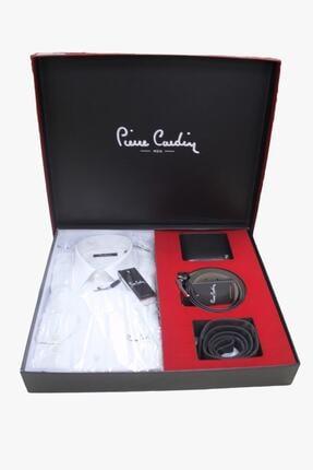 Pierre Cardin 4'lü Gömlek Kemer Cüzdan Kravat Damat Seti