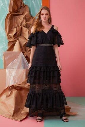 GIZIA CASUAL Güpür Ve Fırfır Detaylı Siyah Elbise