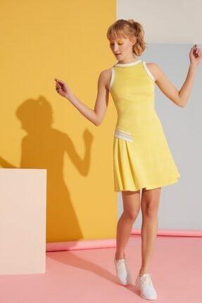 GIZIA SPORT Şerit Ve Fırfır Detaylı Sarı Elbise