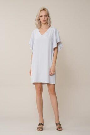 GIZIA CASUAL Kadın V Yaka Buz Mavi Mini Elbise M18YEW0901XUC
