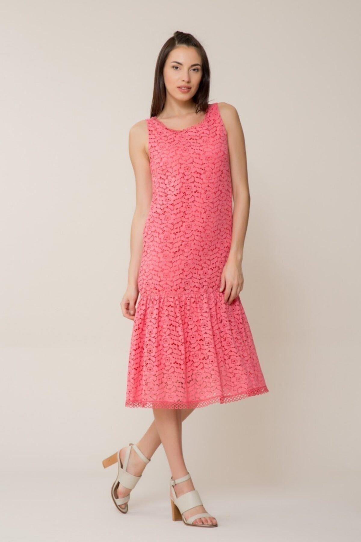 GIZIA CASUAL Kadın Güpür Midi Elbise M18YEW14813FQ 2