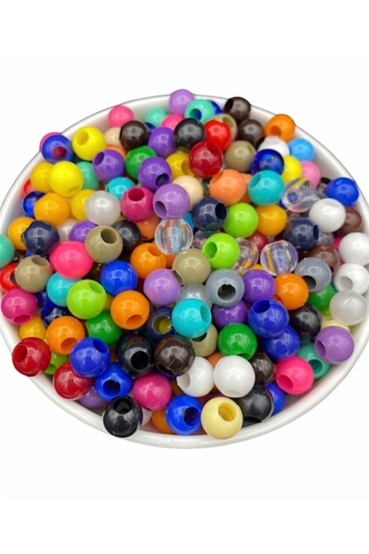 Hedef Bijuteri 10mm Karışık Renkli Plastik Boncuk,renkli Geniş Delik Makrome Boncuğu (100gr,~200 Adet Boncuk) 2
