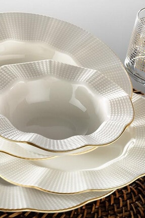 Kütahya Porselen Krem Mat Milenda 83 Parça Yemek Takımı Mln83yt14r520