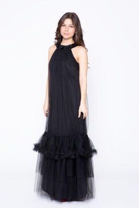 GIZIA CASUAL Etek Ucu Detaylı Siyah Uzun Elbise