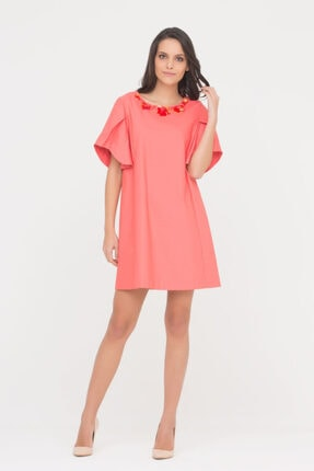 GIZIA CASUAL Kadın Nar Çiçeği Taş İşlemeli Elbise M17YEY06910YF