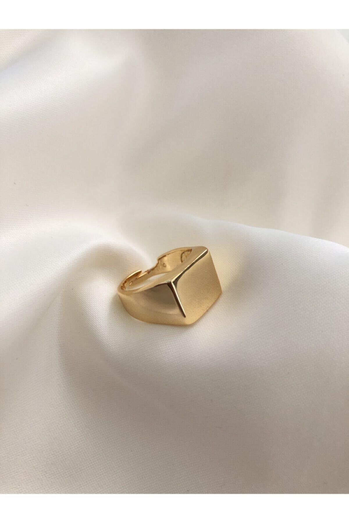 The Y Jewelry Gold Kare Şövalye Yüzük-ayarlanabilir 1