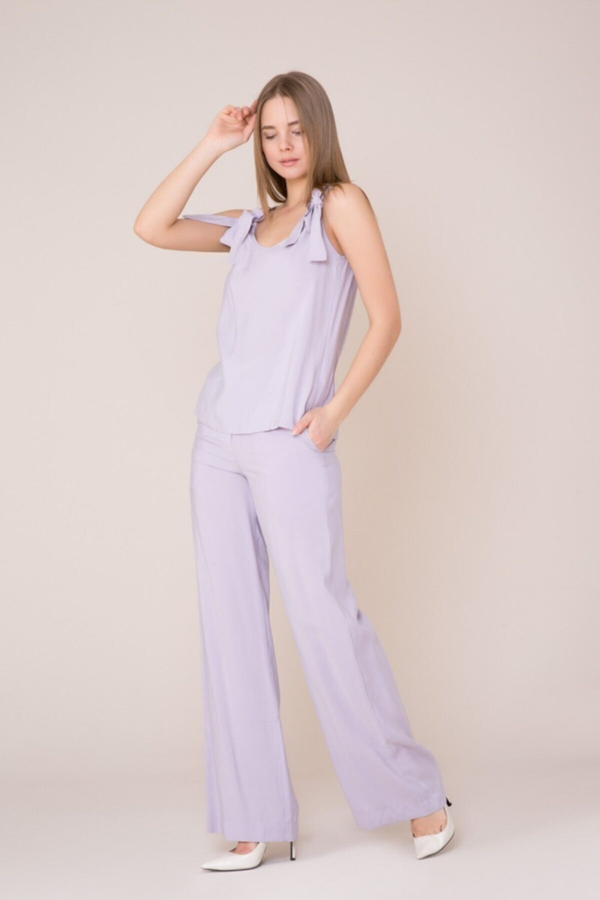 GIZIA CASUAL Fiyonk Askılı Lila Bluz 2