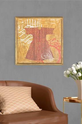 bluecape Kırmızı Şehzade Kaftanı Temalı Antik Limra Taş Özel Baskı Duvar Salon Ofis Mutfak Yatak Odası Tablo