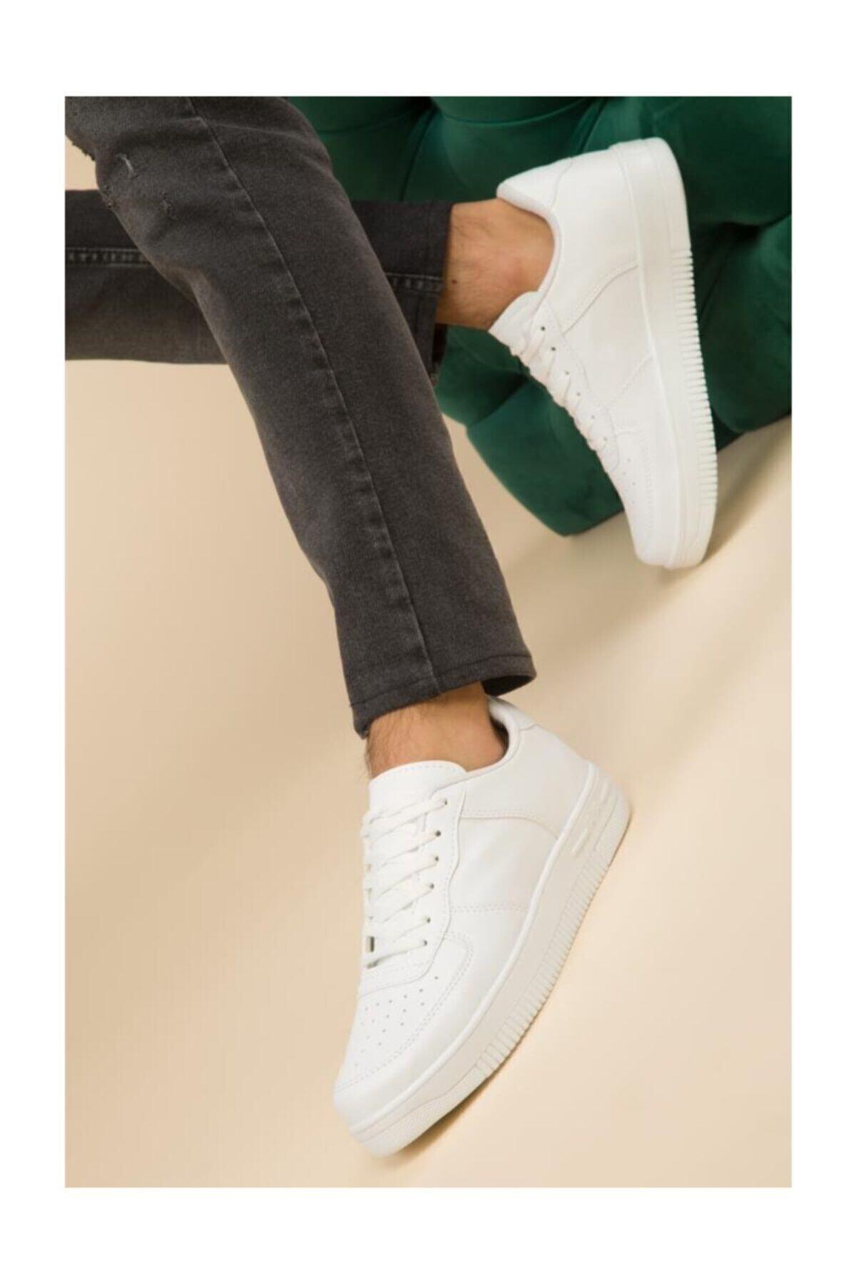 Nmoda Unisex Beyaz Spor Ayakkabı Günlük Sneakers 1