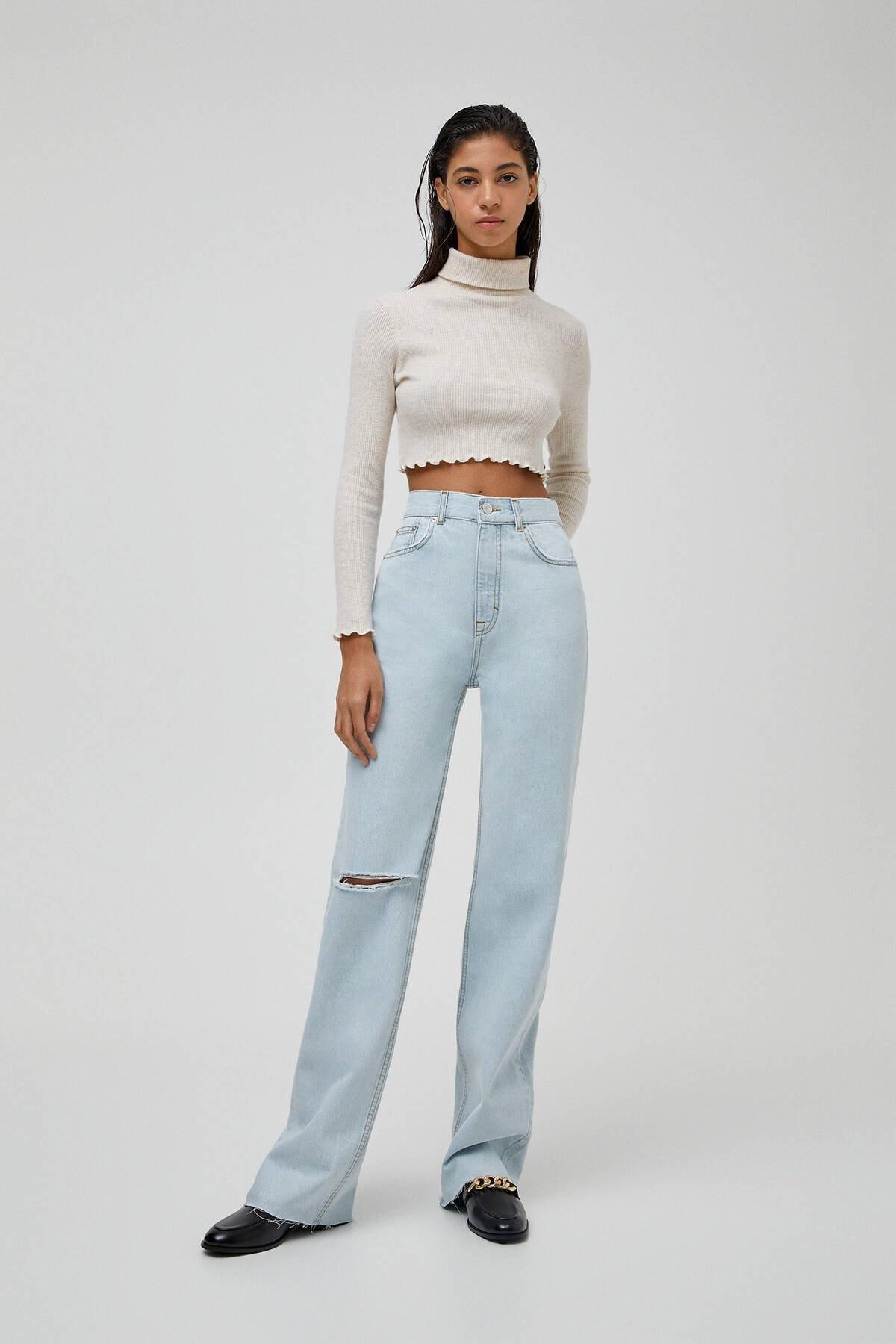 Pull & Bear Kadın Açık Mavi Yüksek Bel Straight Fit Jean 04681313