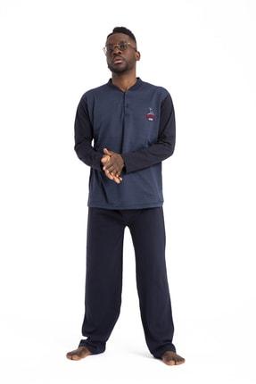 TAMPAP Erkek Mavi Pijama Takımı Uzun Kollu 1035 Pamuklu