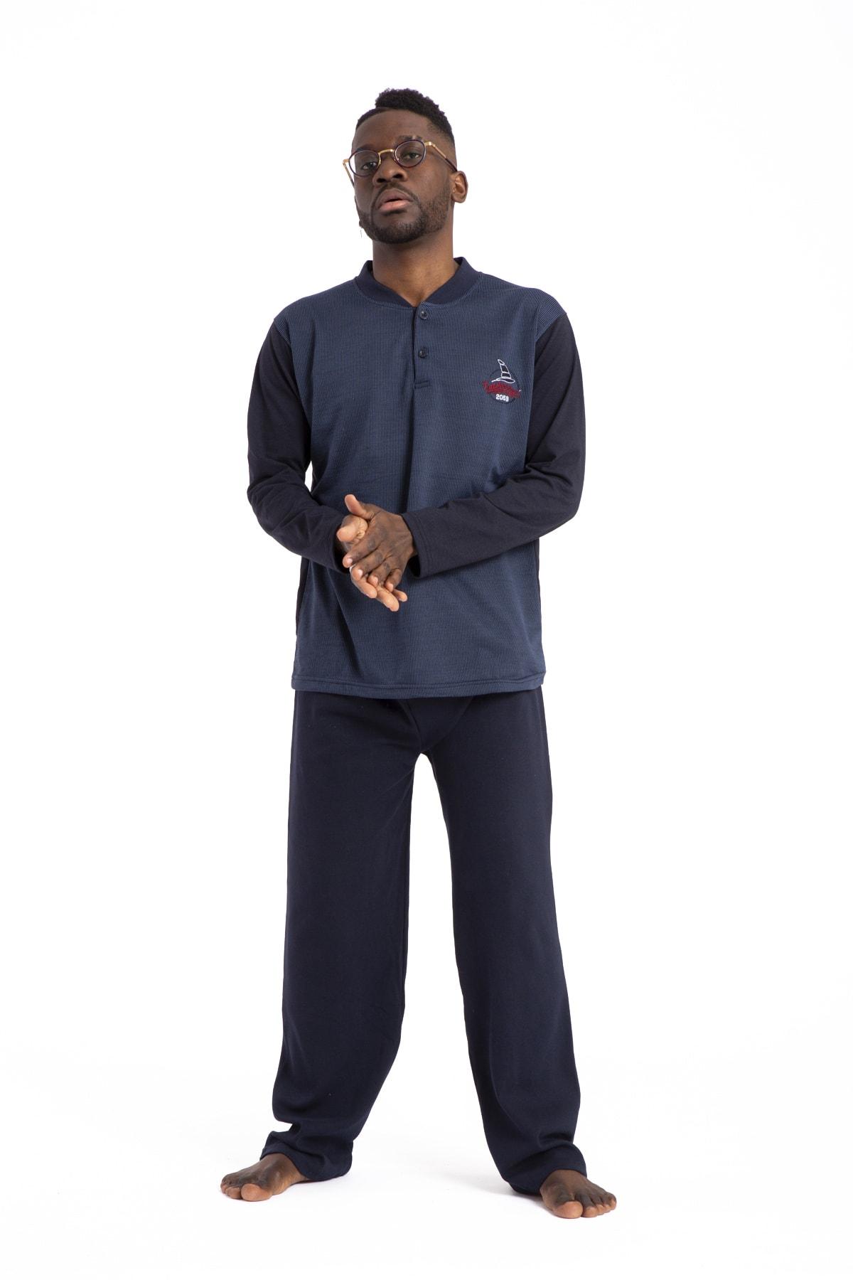 TAMPAP Erkek Mavi Pijama Takımı Uzun Kollu 1035 Pamuklu 1