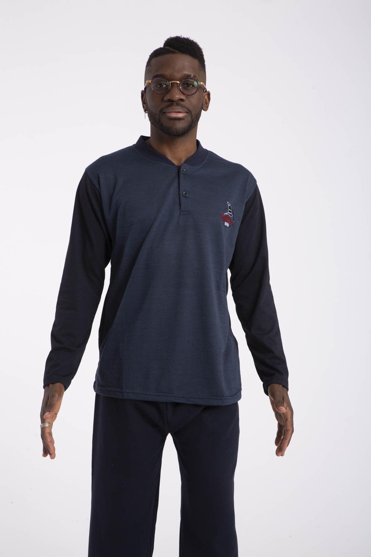 TAMPAP Erkek Mavi Pijama Takımı Uzun Kollu 1035 Pamuklu 2