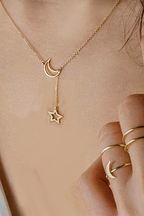 Roza Silver Kadın Gold Ay Yıldız Motifli Zarif Gümüş Kolye