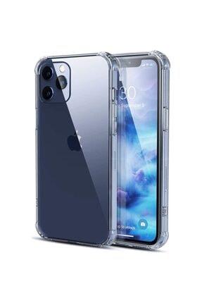 Fibaks Iphone 12 Pro Max Uyumlu Antishock Köşe Korumalı Darbe Emici Şeffaf Sert Silikon Kılıf