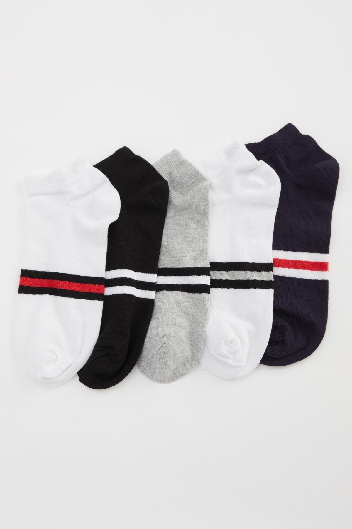 DeFacto Erkek Beyaz Patik Çorap 5'li 1