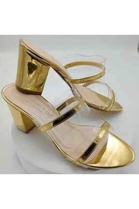 Dessano Polo Kadın Altın  Topuklu Şeffaf Terlik