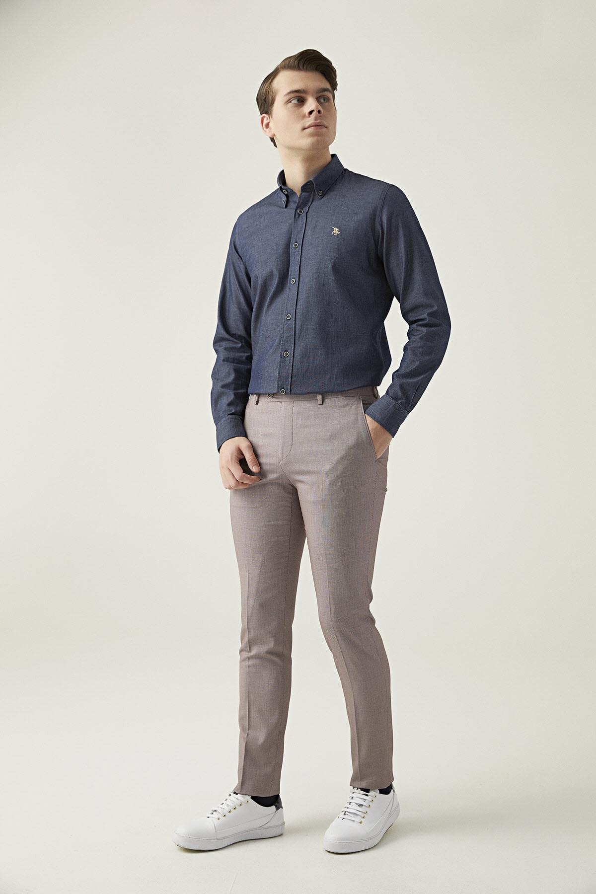 Twn Bordo Renk Erkek  Pantolon (Slim Fit) 1
