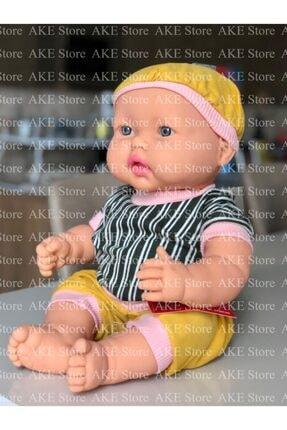 Gamze Oyuncak Türkçe Konuşan Şapkalı-kel Çizgili Elbiseli Erkek Et Bebek 40 Cm (Görseller Ake Store'a Aittir.)