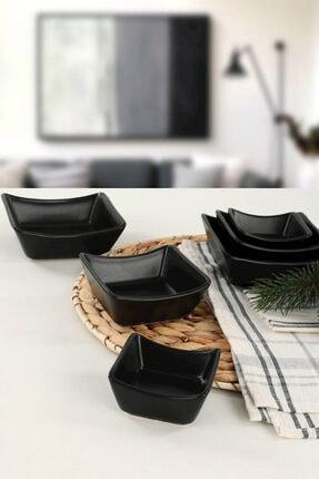 Keramika Mat Siyah Sandal Çerezlik / Sosluk 08-10-12 cm 6 adet