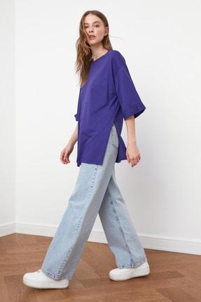 TRENDYOLMİLLA Mor Duble Kol Asimetrik Boyfriend Örme T-Shirt TWOSS20TS0828