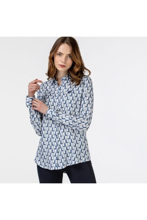 Lacoste Kadın Desenli Mavi Gömlek CF0126