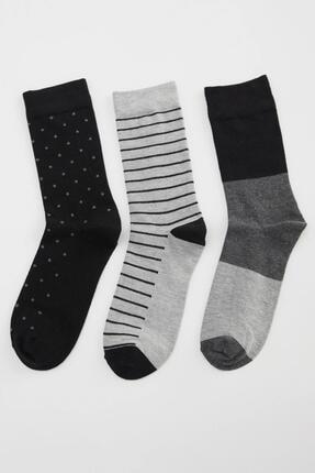 DeFacto Erkek Karma Desenli Uzun Soket Çorap 3'lü