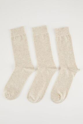 DeFacto Erkek Kahve Melanj 3'lü Soket Çorap