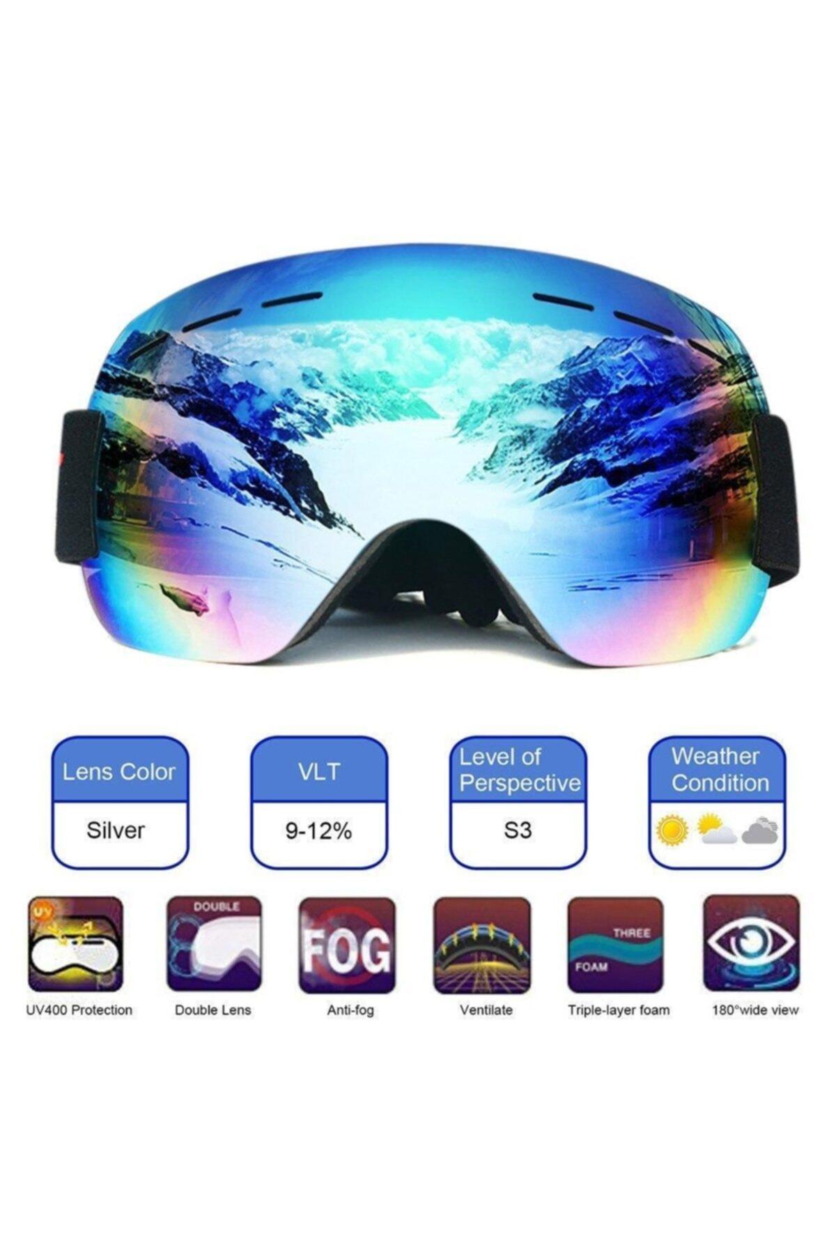 Schulzz Anti Sis Özellikli Çift Lens Uv Snowboard Kayak Gözlüğü 2