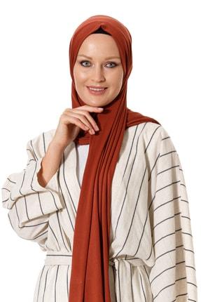 Mercan Hijab Kiremit Pamuklu Penye Şal