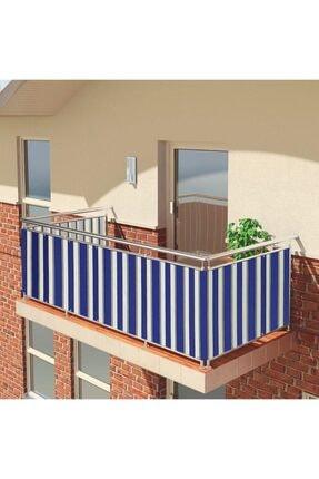 ALTINPAMUK Balkon Demiri Perdesi Korkuluk Perdesi Her Ölçüde Boy X En Metal Halkalı Mavi Beyaz