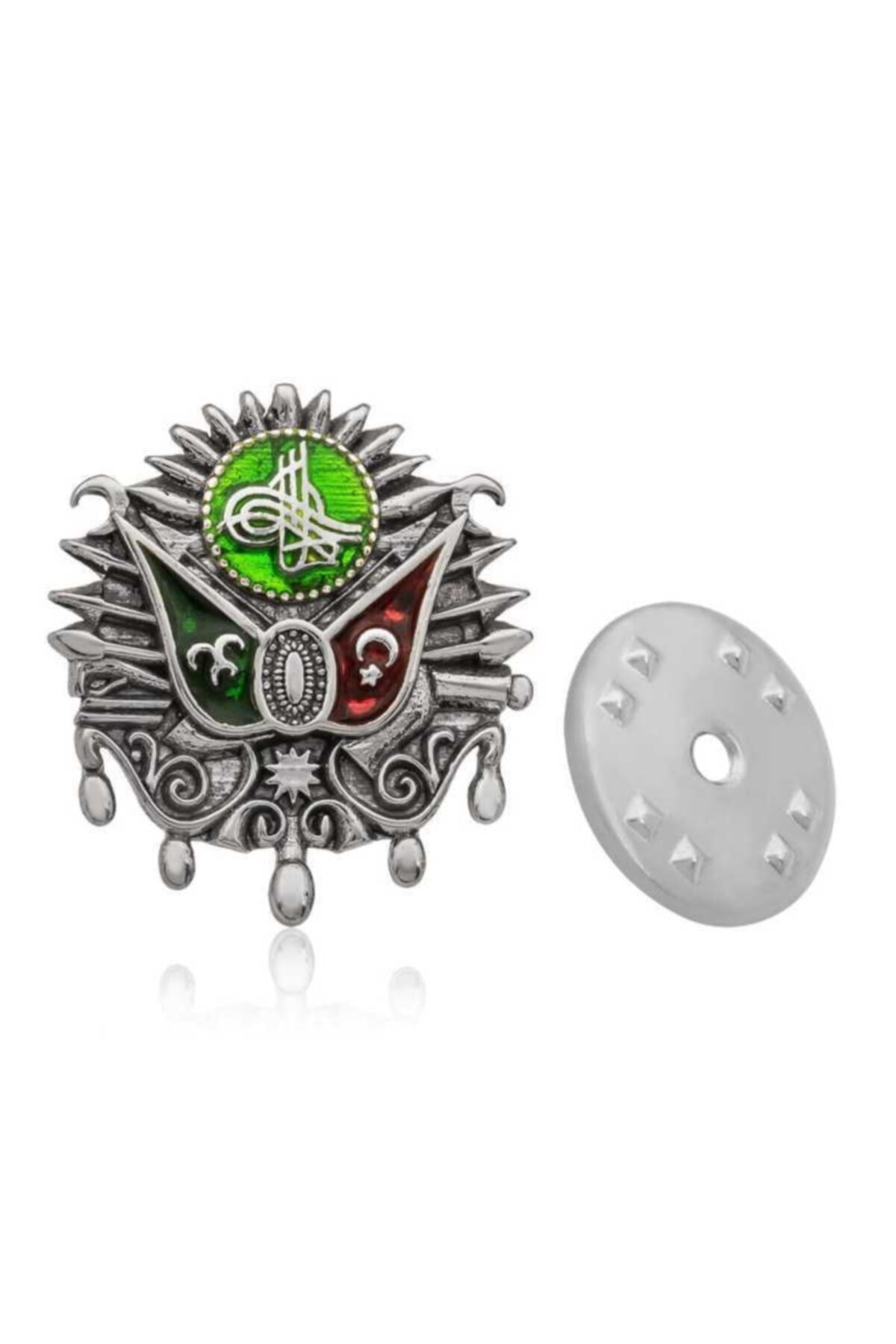 Gumush Unisex Gümüş Osmanlı Devlet Arması Rozet 1