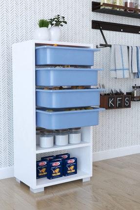 Tedarikcenter Mutfak Dolabı 4 Sepetli 2 Raflı Çok Amaçlı Dolap Çekmeceli Dolap - Mavi