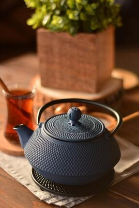 Taşev Linden - Sümbül 750 ml Gök Mavi Döküm Çaydanlık
