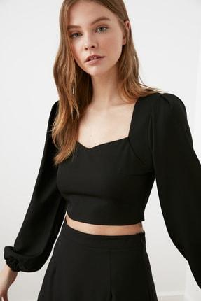 TRENDYOLMİLLA Siyah Crop Bluz TWOSS21BZ0236
