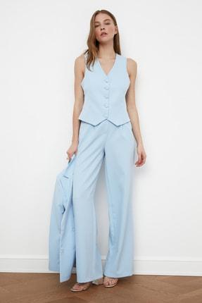 TRENDYOLMİLLA Açık Mavi Geniş Paça Pantolon TWOSS21PL0189