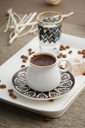ACAR Alles Porselen 6'lı Kahve Fincan Seti - Siyah