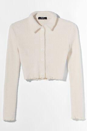 Bershka Kadın Bej Düğmeli Polo Yaka Ceket