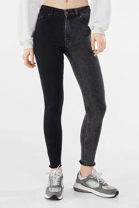 Bershka Kadın Siyah Kontrast Yüksek Bel Skinny Fit Jean
