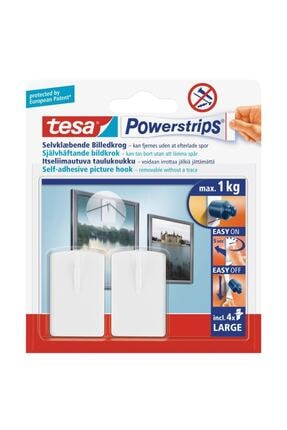 Tesa Powerstrips Çerçeve Askısı Kendinden Yapışkanlı, Çıkarılabilir, beyaz