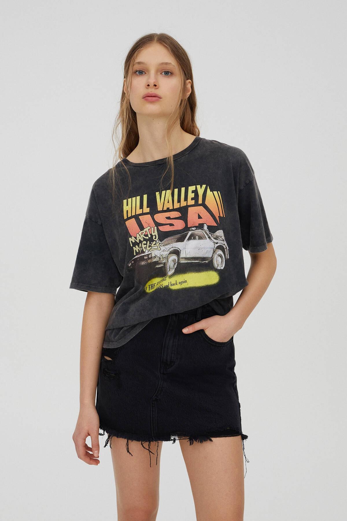 Pull & Bear Kadın Siyah Back To The Future Hill Valley Sloganlı T-shirt