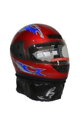 Asm Kırmızı Tam Kapalı Boyun Derili Motosiklet Kaskı