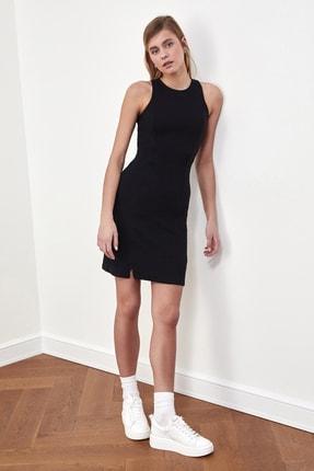 TRENDYOLMİLLA Siyah Fitilli Halter Yaka Örme Elbise TWOSS21EL1487