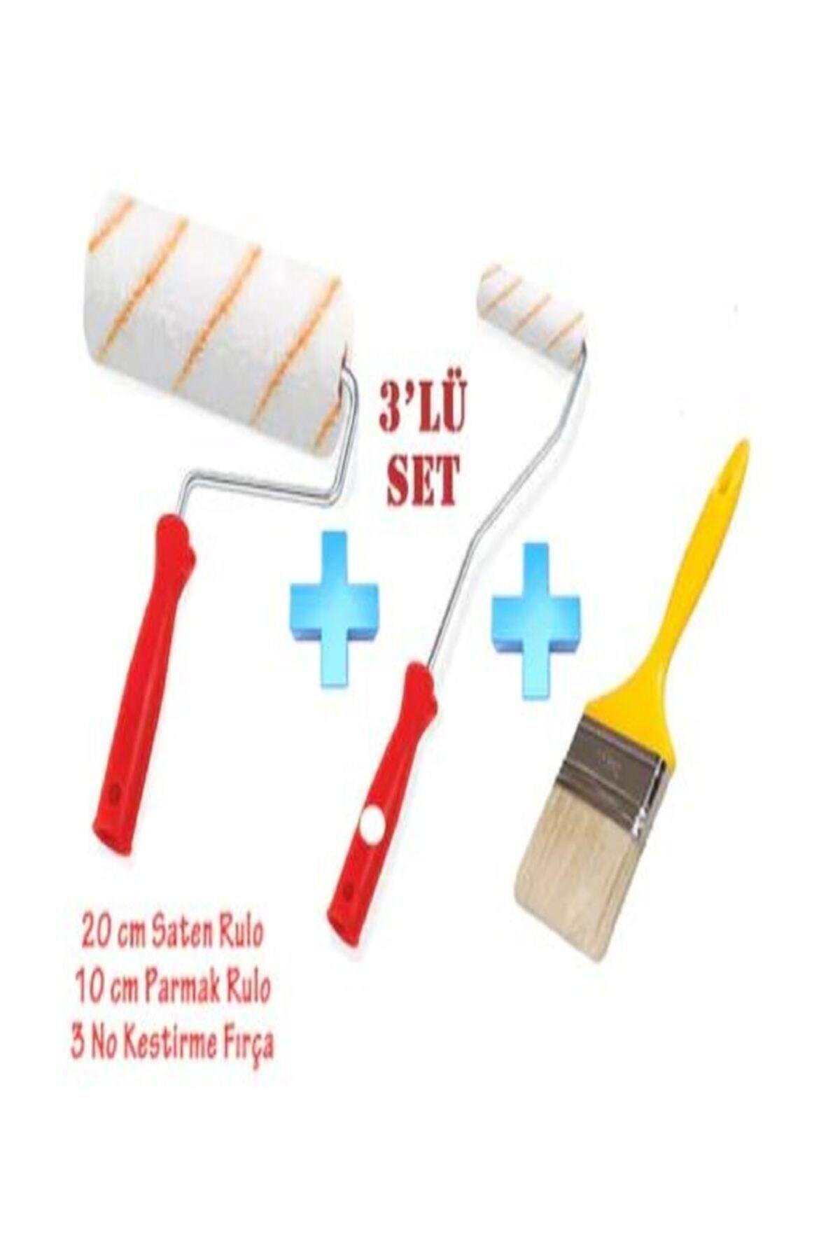 ALPERYAPI Boyacı Seti  Set Saten Rulo + Parmak Rulo + Kestirme Fırça Set 3'lü 1