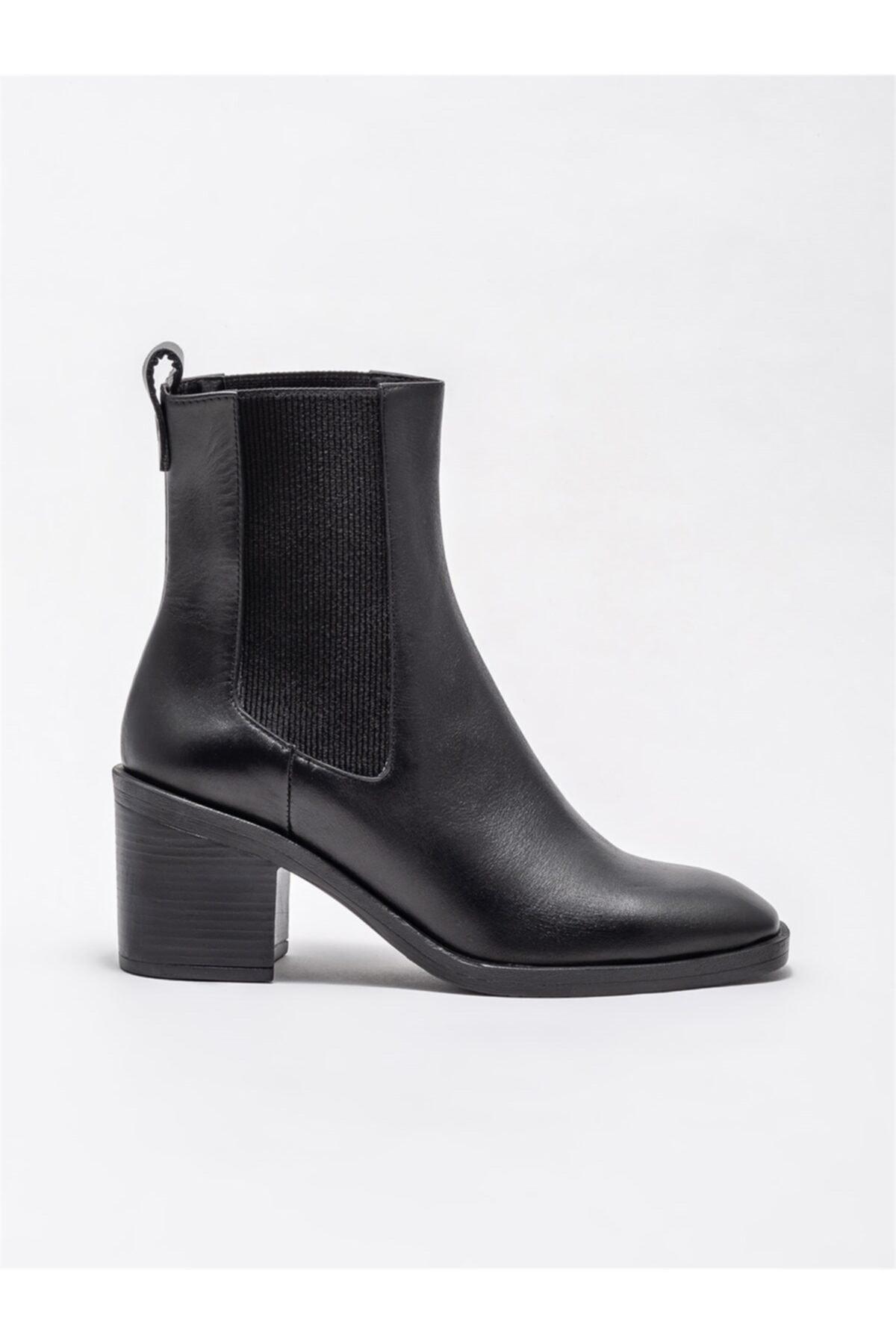 Elle Shoes Siyah Kadın Günlük Topuklu Bot 1